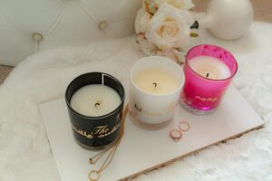 Candle trio - Rose oudh scented candles 1